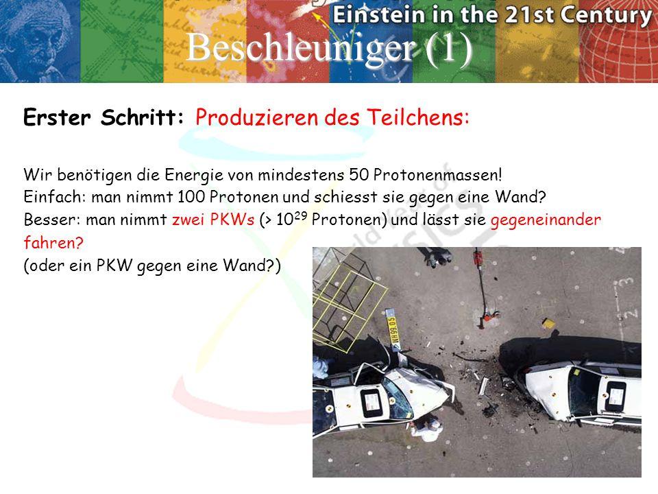 Beschleuniger (1) Erster Schritt: Produzieren des Teilchens: