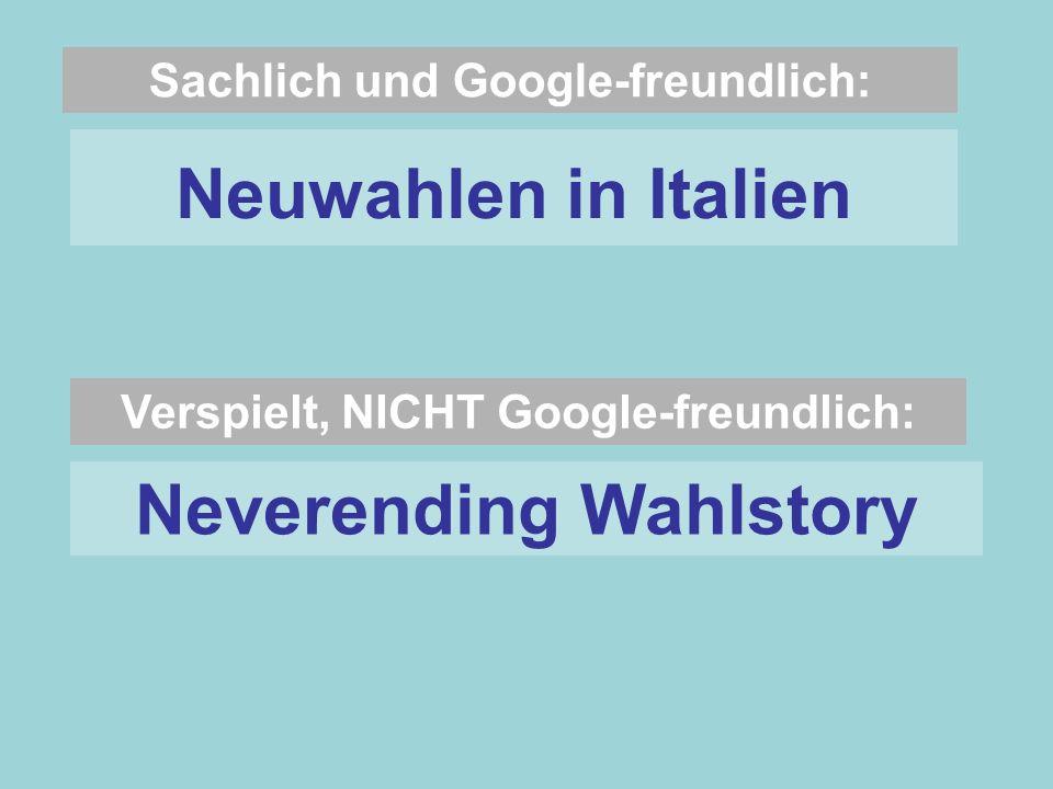 Sachlich und Google-freundlich: