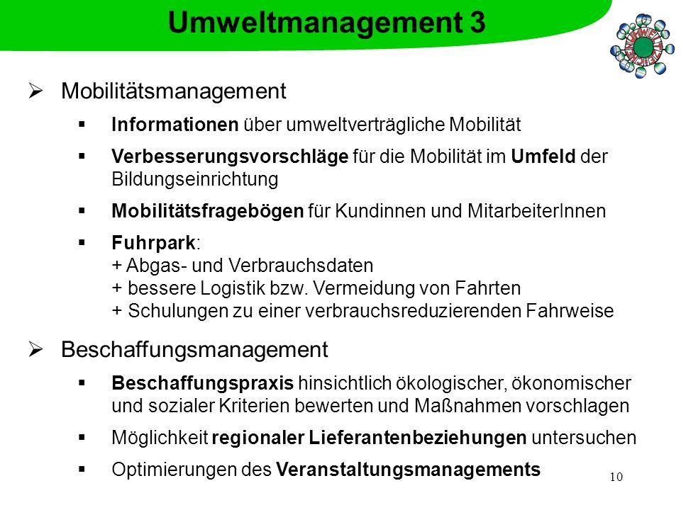 Umweltmanagement 3 Mobilitätsmanagement Beschaffungsmanagement