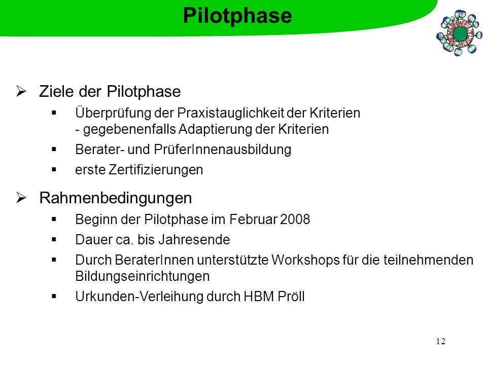Pilotphase Ziele der Pilotphase Rahmenbedingungen