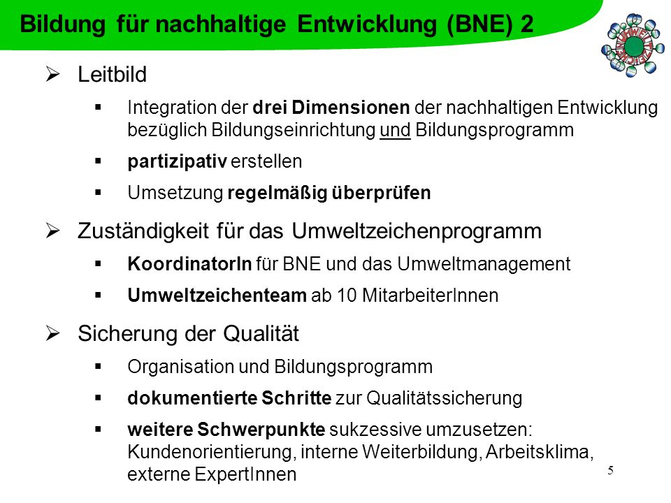 Bildung für nachhaltige Entwicklung (BNE) 2