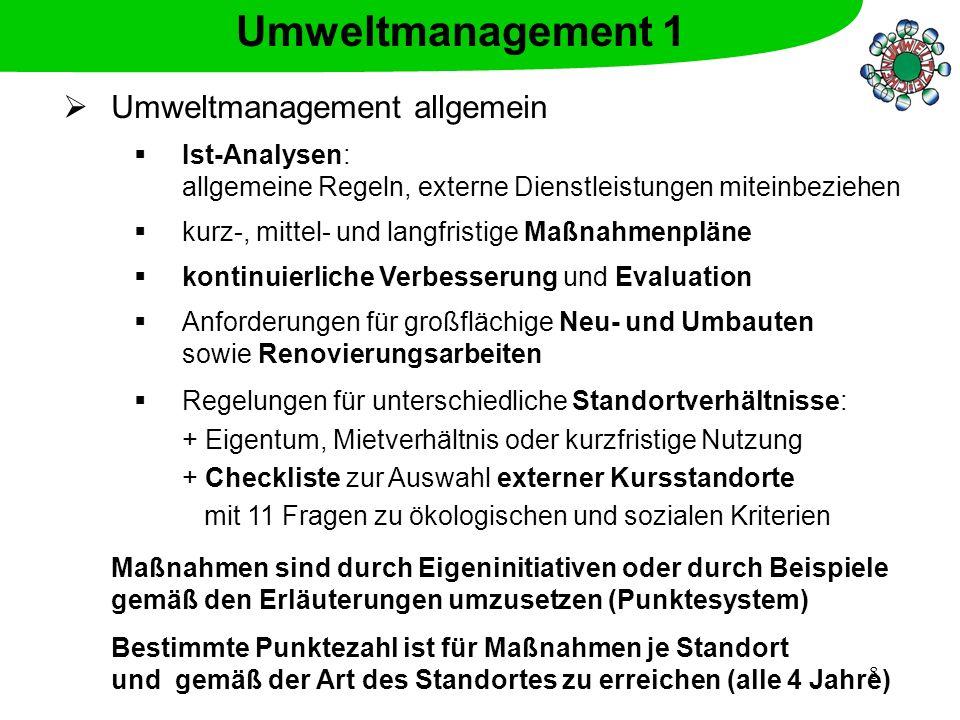 Umweltmanagement 1 Umweltmanagement allgemein