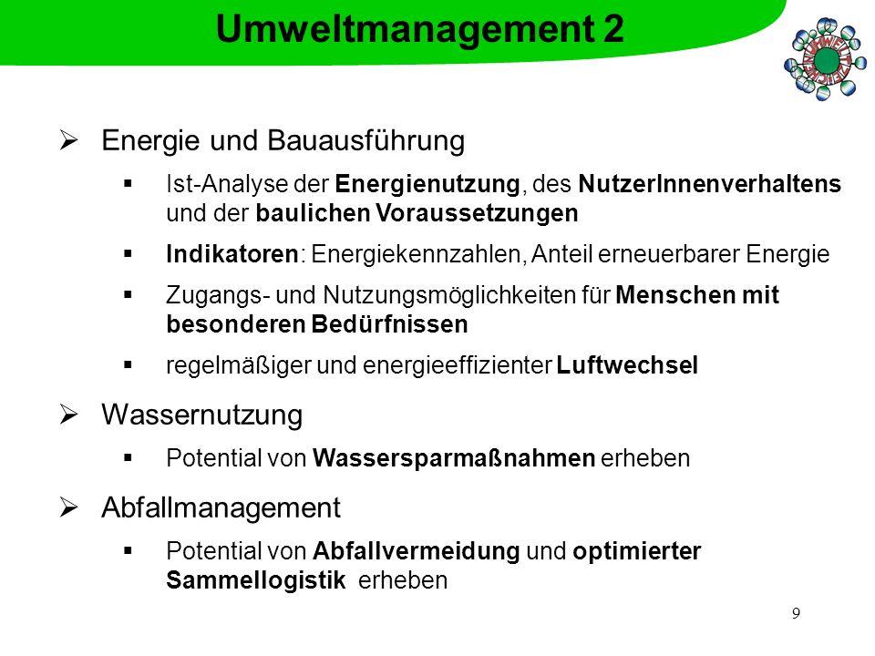 Umweltmanagement 2 Energie und Bauausführung Wassernutzung