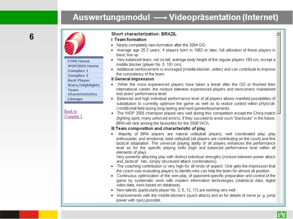 Auswertungsmodul Videopräsentation (Internet)