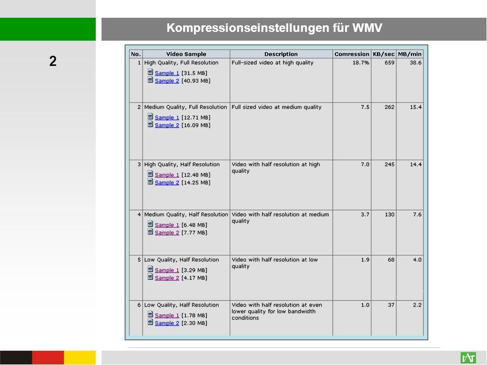 Kompressionseinstellungen für WMV