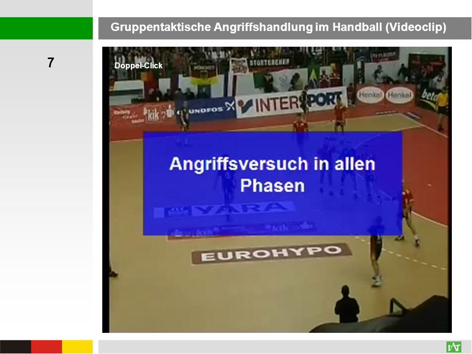 7 Gruppentaktische Angriffshandlung im Handball (Videoclip)