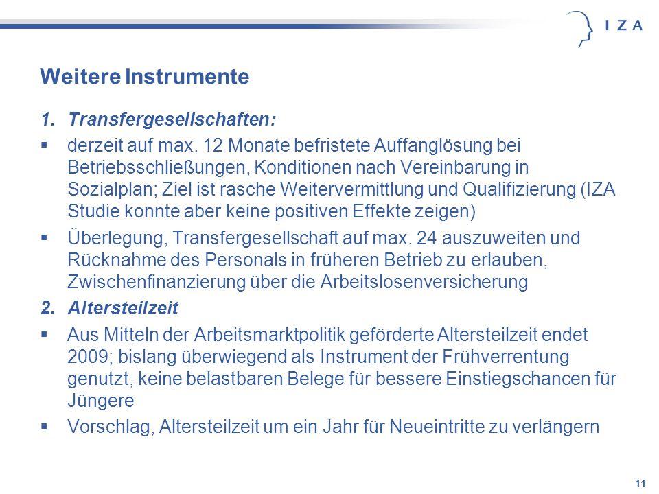 Weitere Instrumente Transfergesellschaften:
