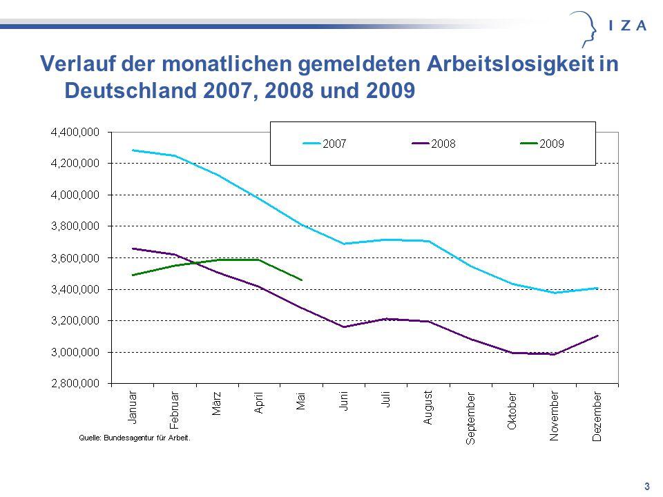 Verlauf der monatlichen gemeldeten Arbeitslosigkeit in Deutschland 2007, 2008 und 2009