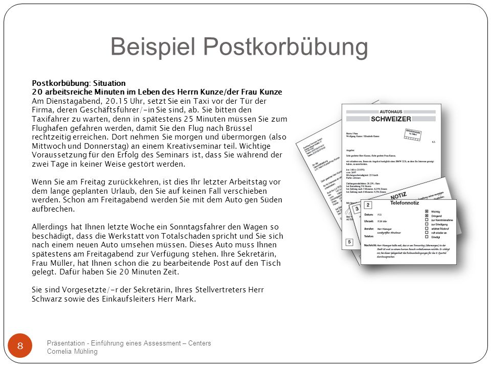 Beispiel Postkorbübung