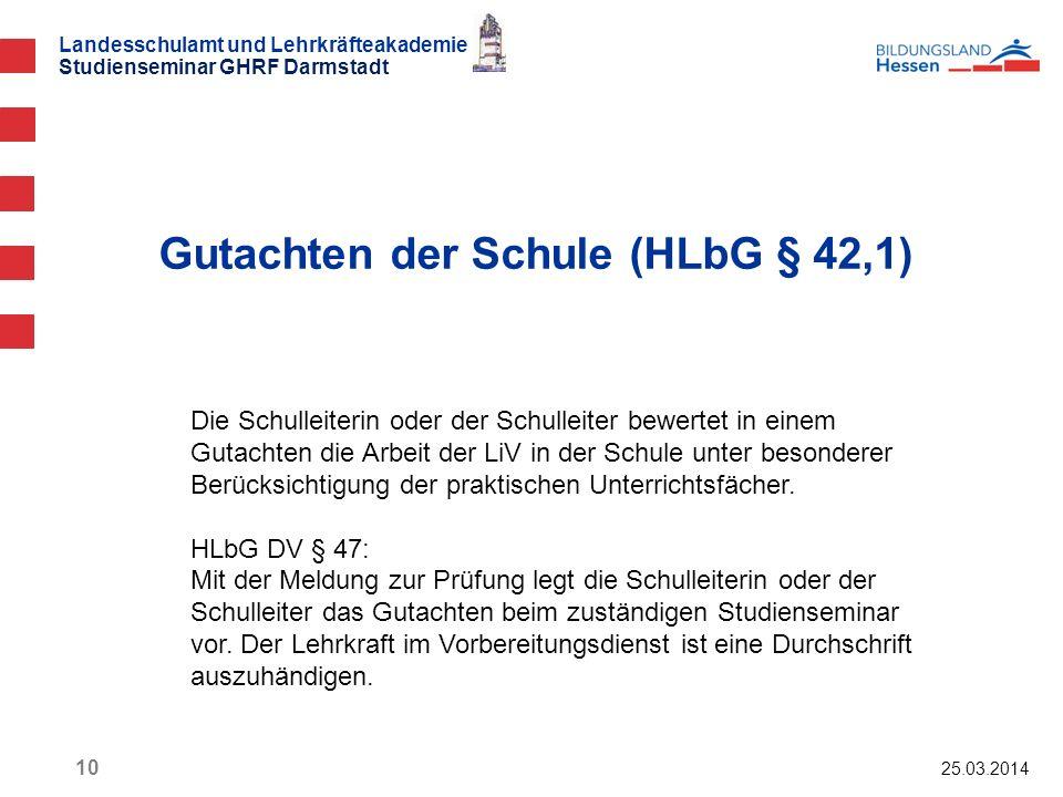 Gutachten der Schule (HLbG § 42,1)