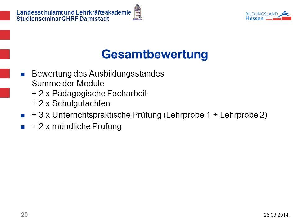 Gesamtbewertung Bewertung des Ausbildungsstandes Summe der Module + 2 x Pädagogische Facharbeit + 2 x Schulgutachten.