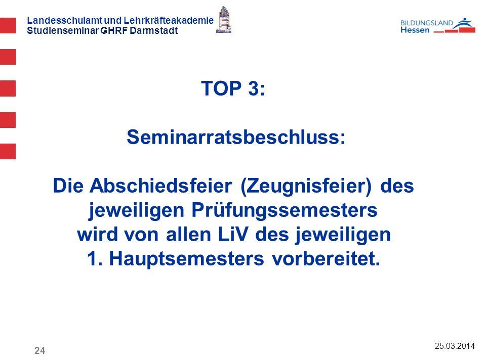 TOP 3: Seminarratsbeschluss: Die Abschiedsfeier (Zeugnisfeier) des jeweiligen Prüfungssemesters wird von allen LiV des jeweiligen 1. Hauptsemesters vorbereitet.