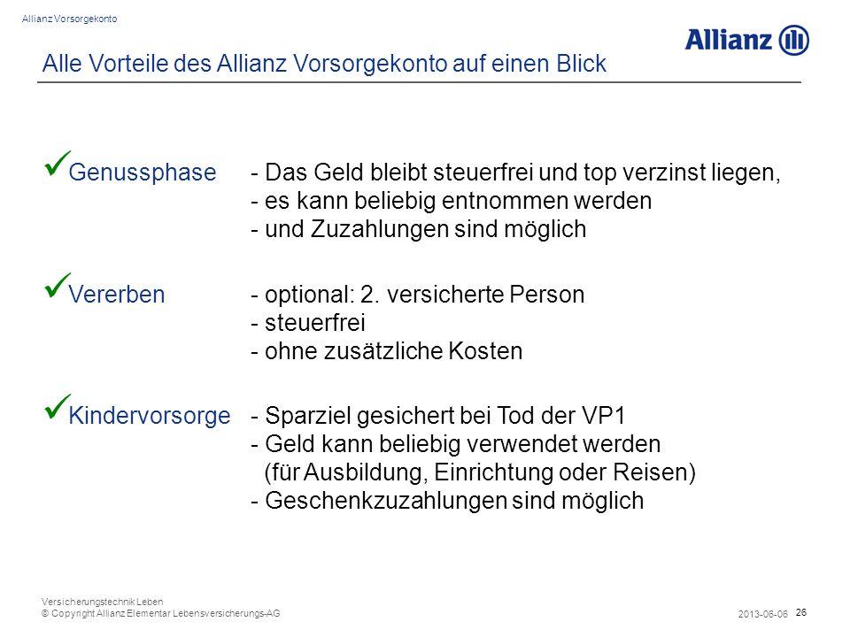 Alle Vorteile des Allianz Vorsorgekonto auf einen Blick