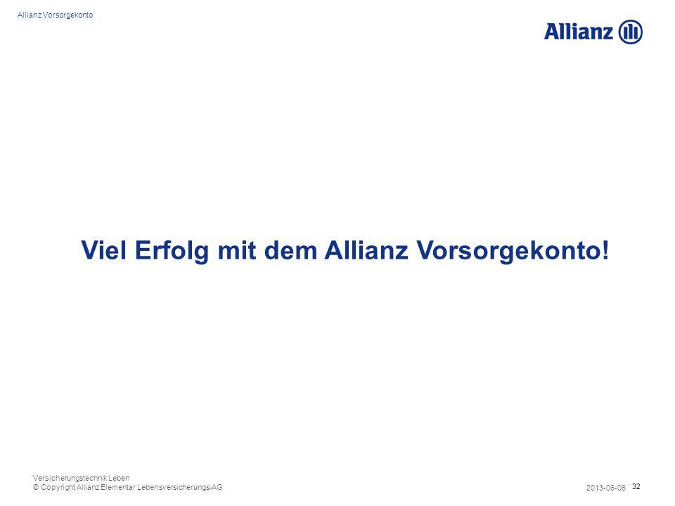 Viel Erfolg mit dem Allianz Vorsorgekonto!