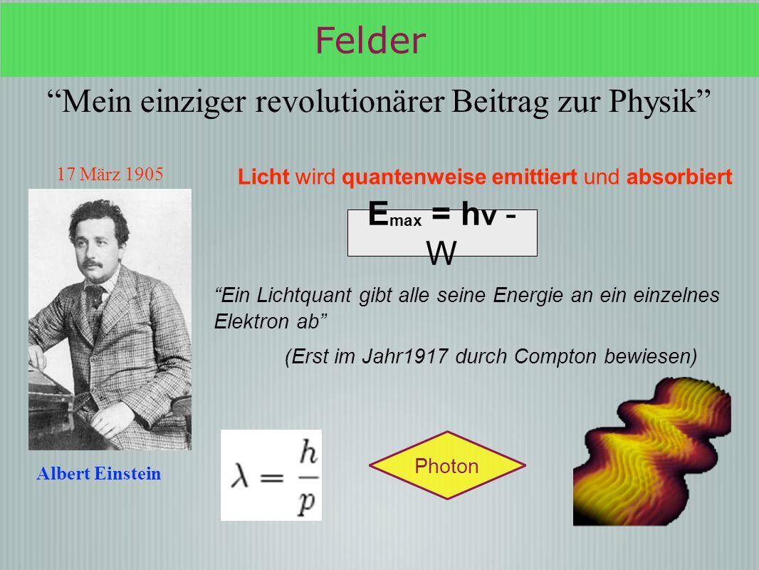 Felder Mein einziger revolutionärer Beitrag zur Physik Emax = hν - W