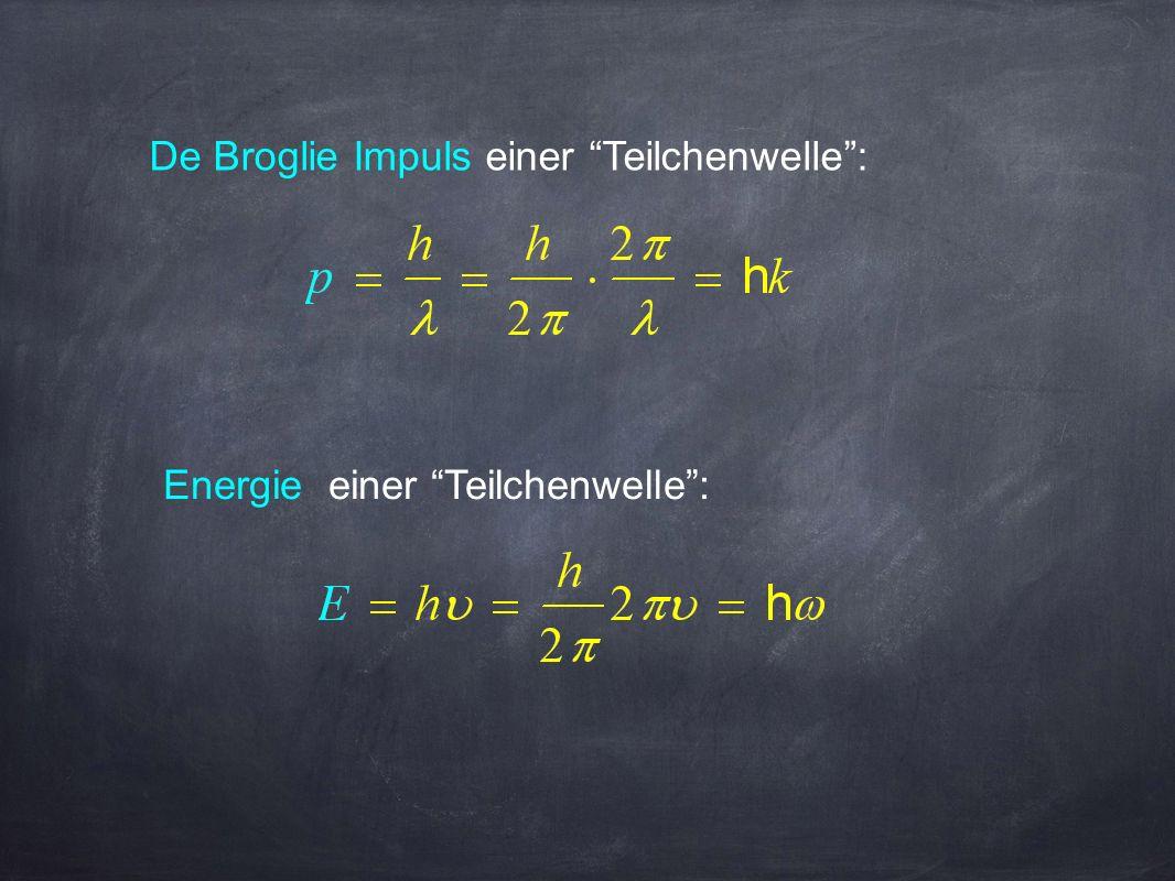 De Broglie Impuls einer Teilchenwelle :