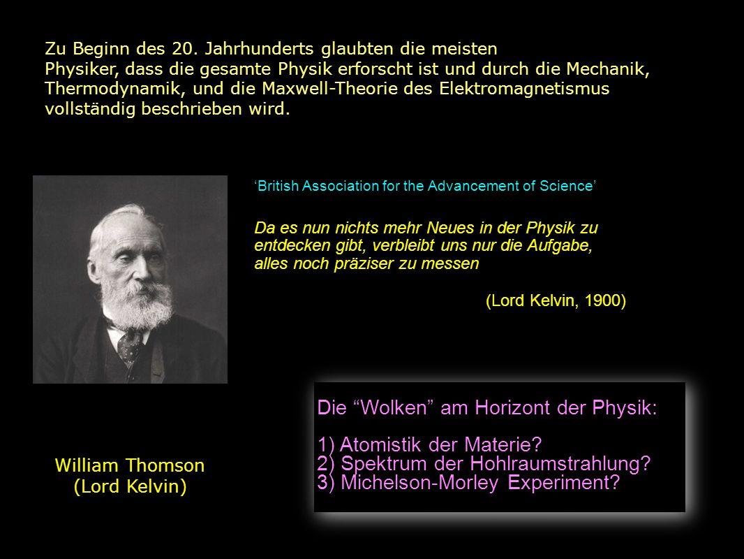 Die Wolken am Horizont der Physik: 1) Atomistik der Materie