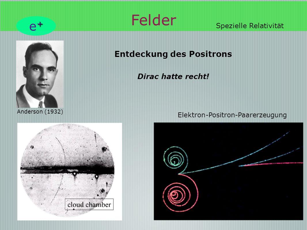 Felder e+ Entdeckung des Positrons Dirac hatte recht!