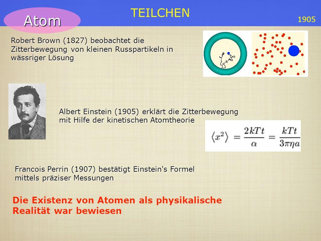 Atom Die Existenz von Atomen als physikalische Realität war bewiesen