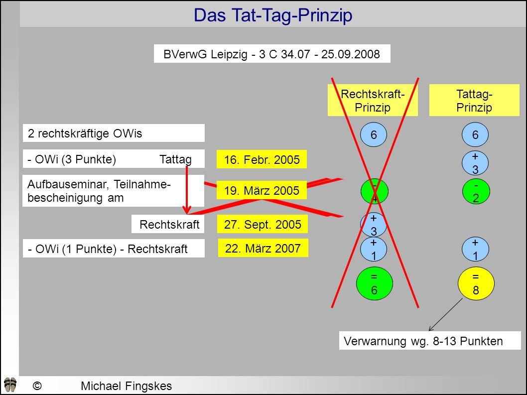 BVerwG Leipzig - 3 C 34.07 - 25.09.2008 Rechtskraft-Prinzip. Tattag- Prinzip. 2 rechtskräftige OWis.