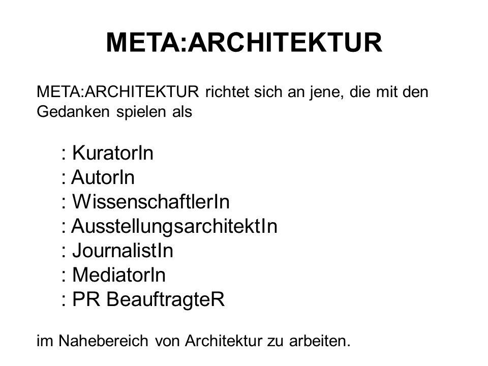 META:ARCHITEKTUR : KuratorIn : AutorIn : WissenschaftlerIn