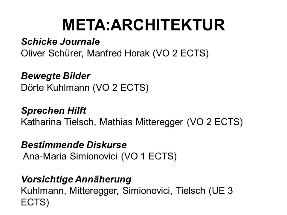 META:ARCHITEKTUR Schicke Journale