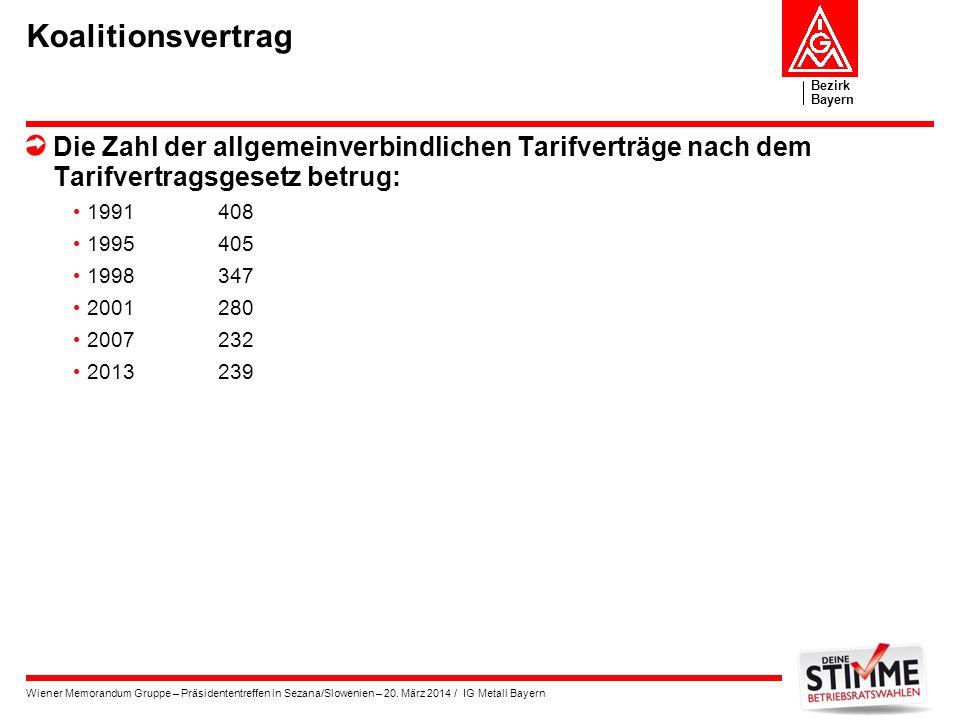 Koalitionsvertrag Die Zahl der allgemeinverbindlichen Tarifverträge nach dem Tarifvertragsgesetz betrug: