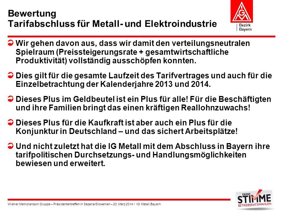 Bewertung Tarifabschluss für Metall- und Elektroindustrie