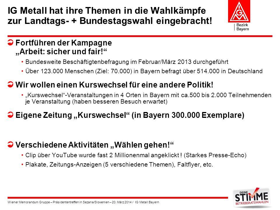 IG Metall hat ihre Themen in die Wahlkämpfe zur Landtags- + Bundestagswahl eingebracht!
