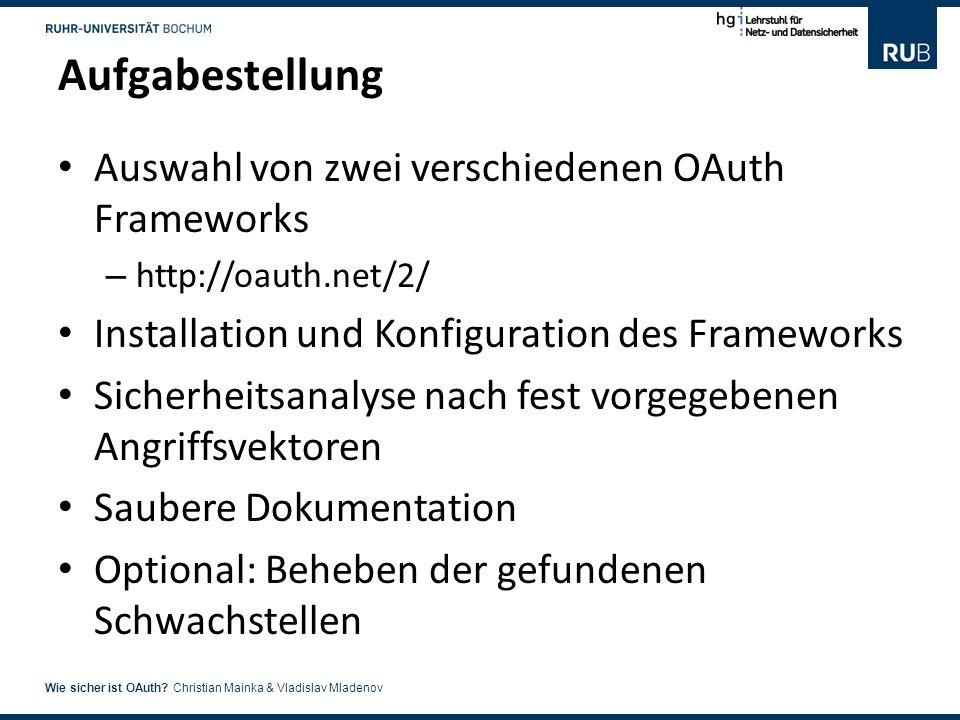 Aufgabestellung Auswahl von zwei verschiedenen OAuth Frameworks