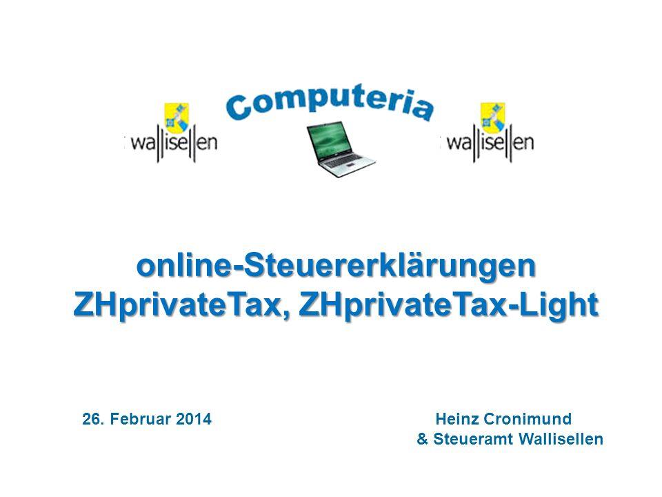 online-Steuererklärungen ZHprivateTax, ZHprivateTax-Light