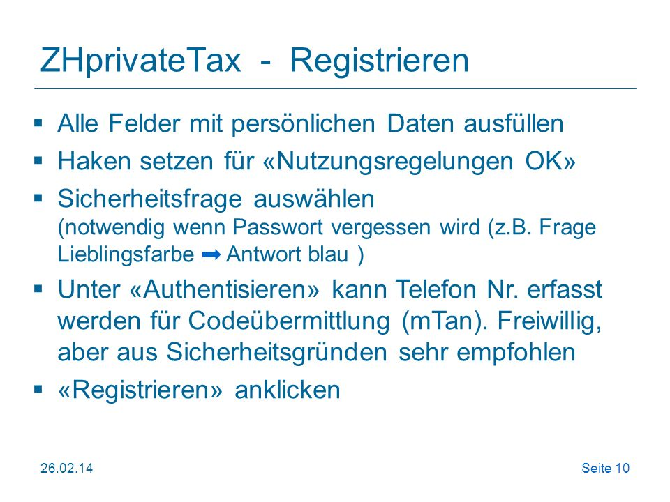 ZHprivateTax - Registrieren