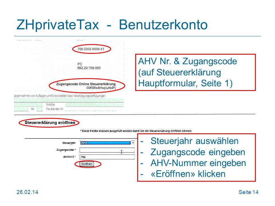 ZHprivateTax - Benutzerkonto