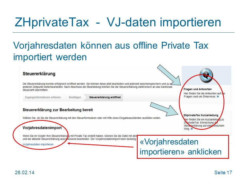 ZHprivateTax - VJ-daten importieren