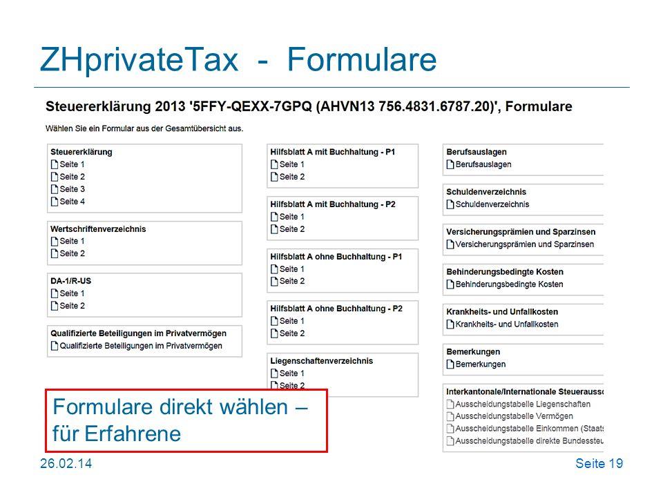 ZHprivateTax - Formulare