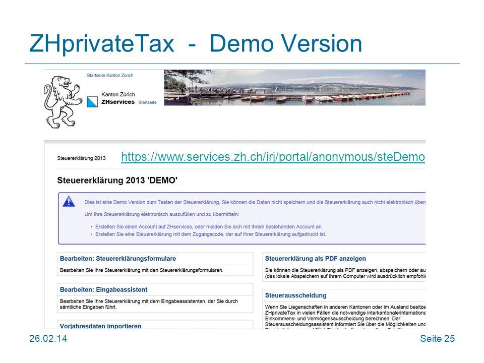 ZHprivateTax - Demo Version