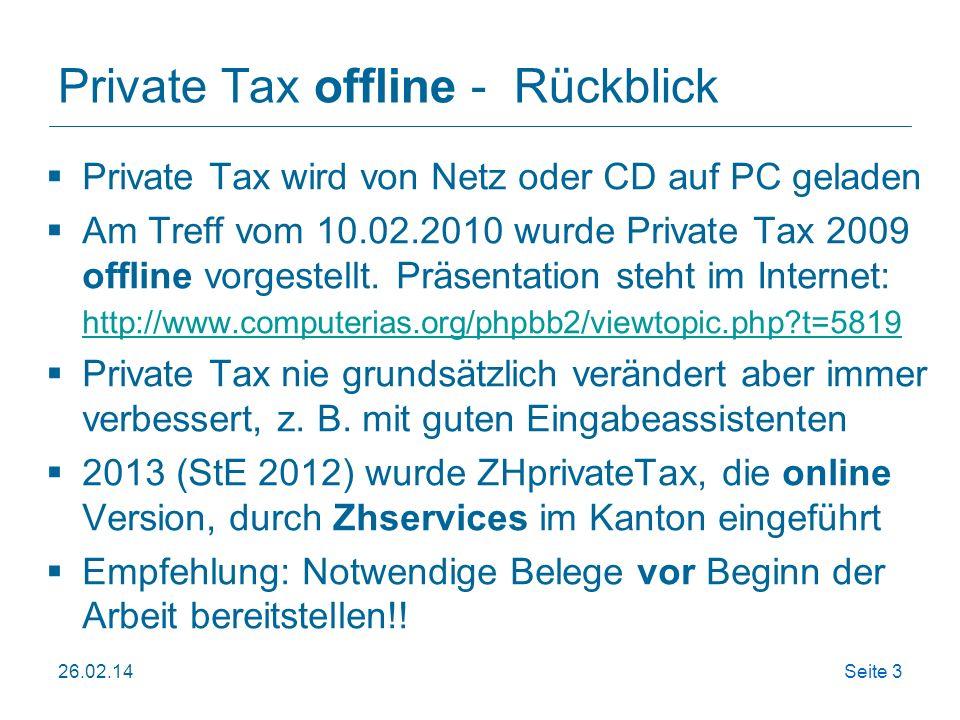 Private Tax offline - Rückblick