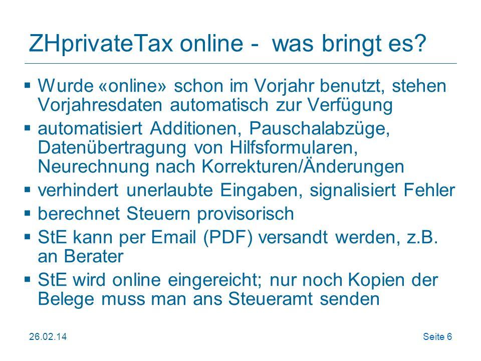 ZHprivateTax online - was bringt es