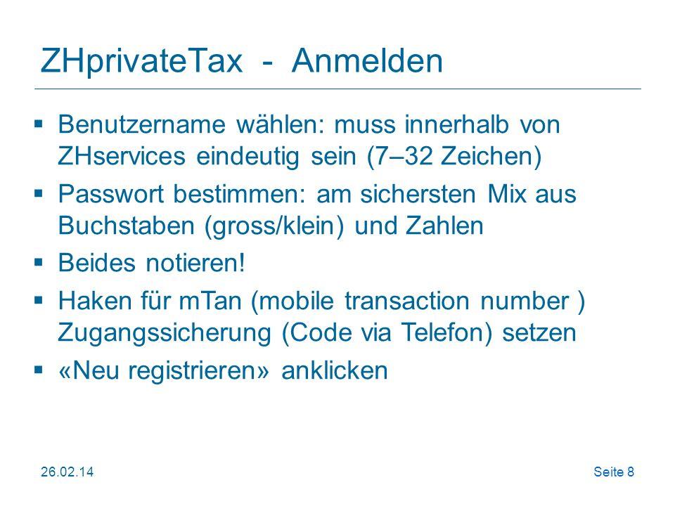 ZHprivateTax - Anmelden