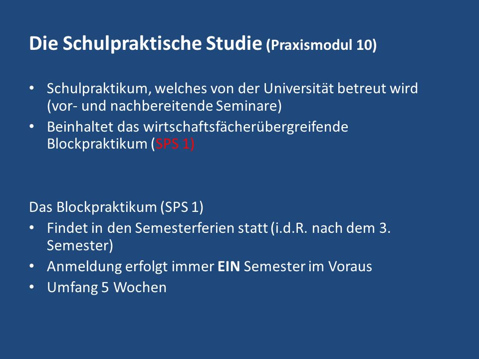 Die Schulpraktische Studie (Praxismodul 10)