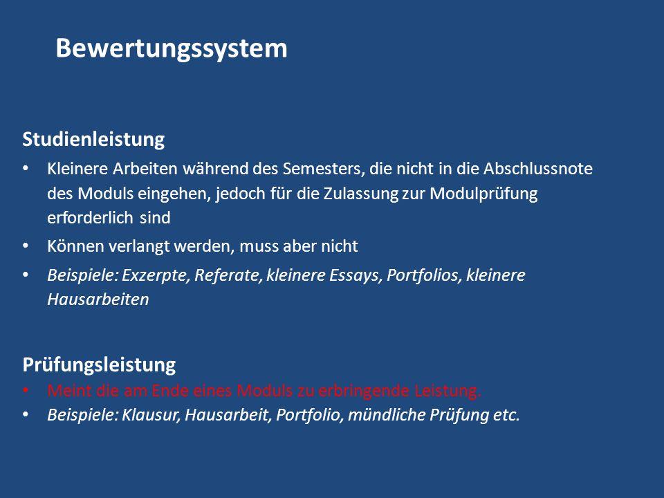 Bewertungssystem Studienleistung Prüfungsleistung
