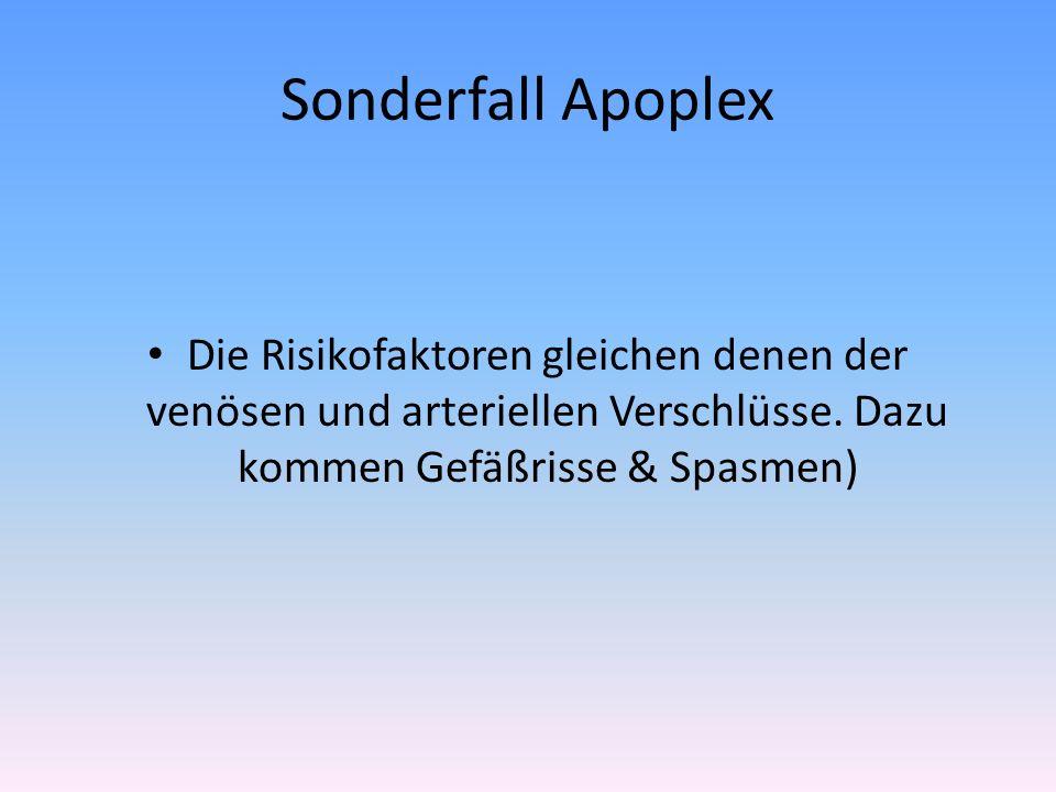 Sonderfall Apoplex Die Risikofaktoren gleichen denen der venösen und arteriellen Verschlüsse.