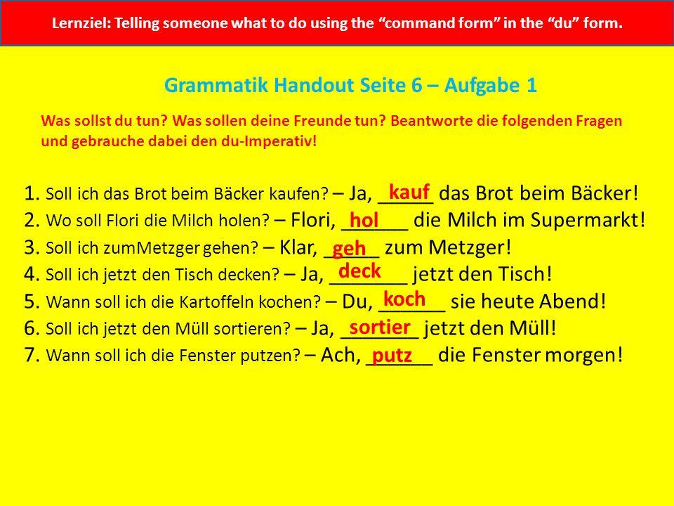 Grammatik Handout Seite 6 – Aufgabe 1