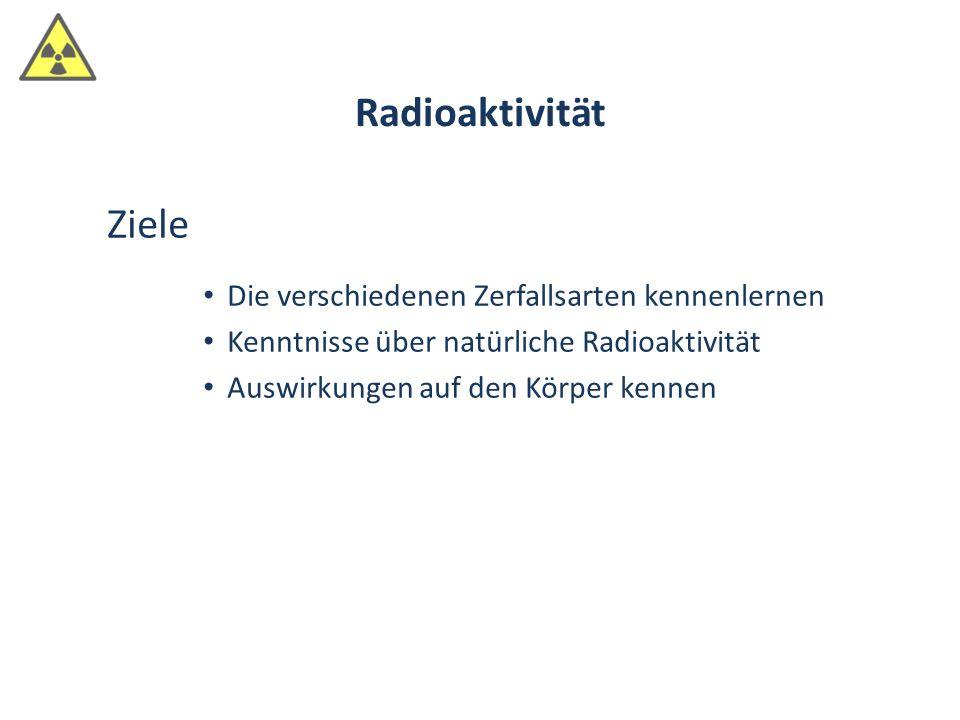 Radioaktivität Ziele Die verschiedenen Zerfallsarten kennenlernen