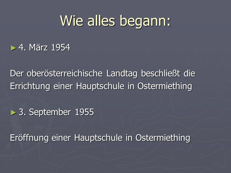 Wie alles begann: 4. März 1954. Der oberösterreichische Landtag beschließt die. Errichtung einer Hauptschule in Ostermiething.
