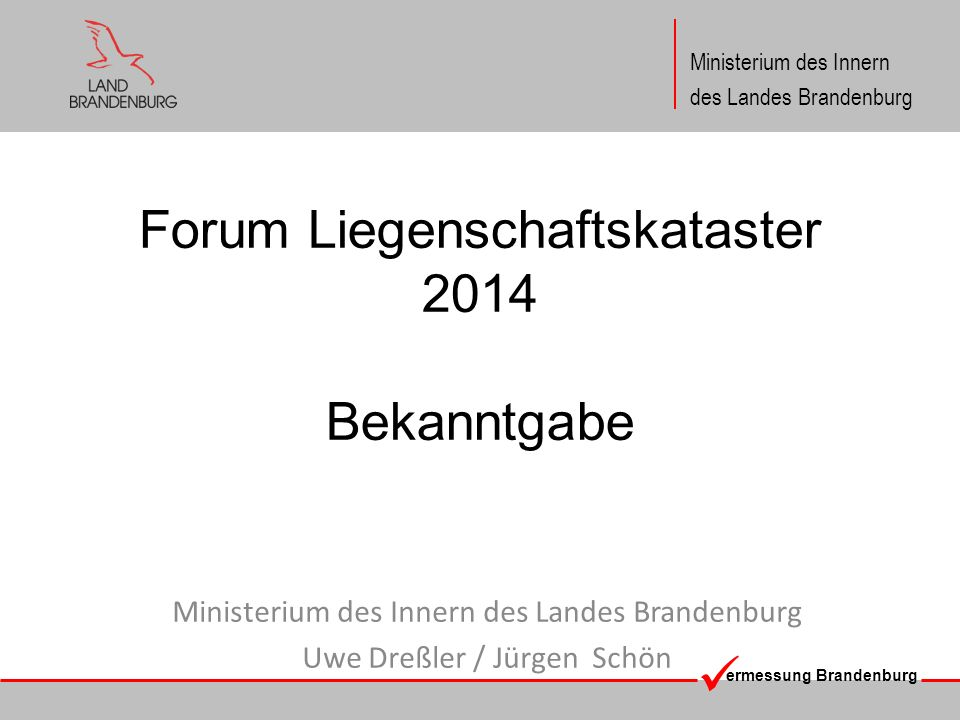 Forum Liegenschaftskataster 2014 Bekanntgabe