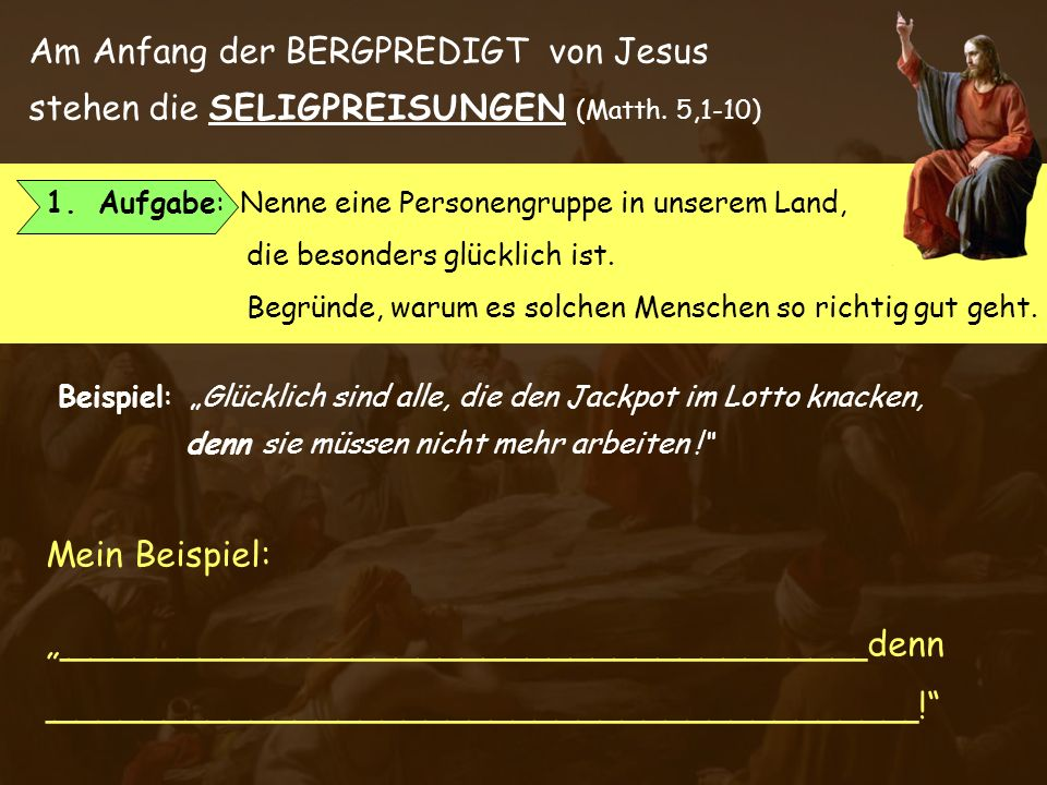 Am Anfang der BERGPREDIGT von Jesus