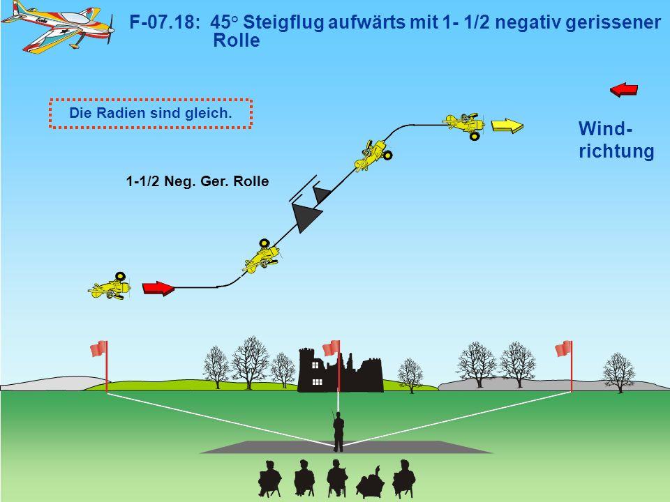 F-07.18: 45° Steigflug aufwärts mit 1- 1/2 negativ gerissener Rolle