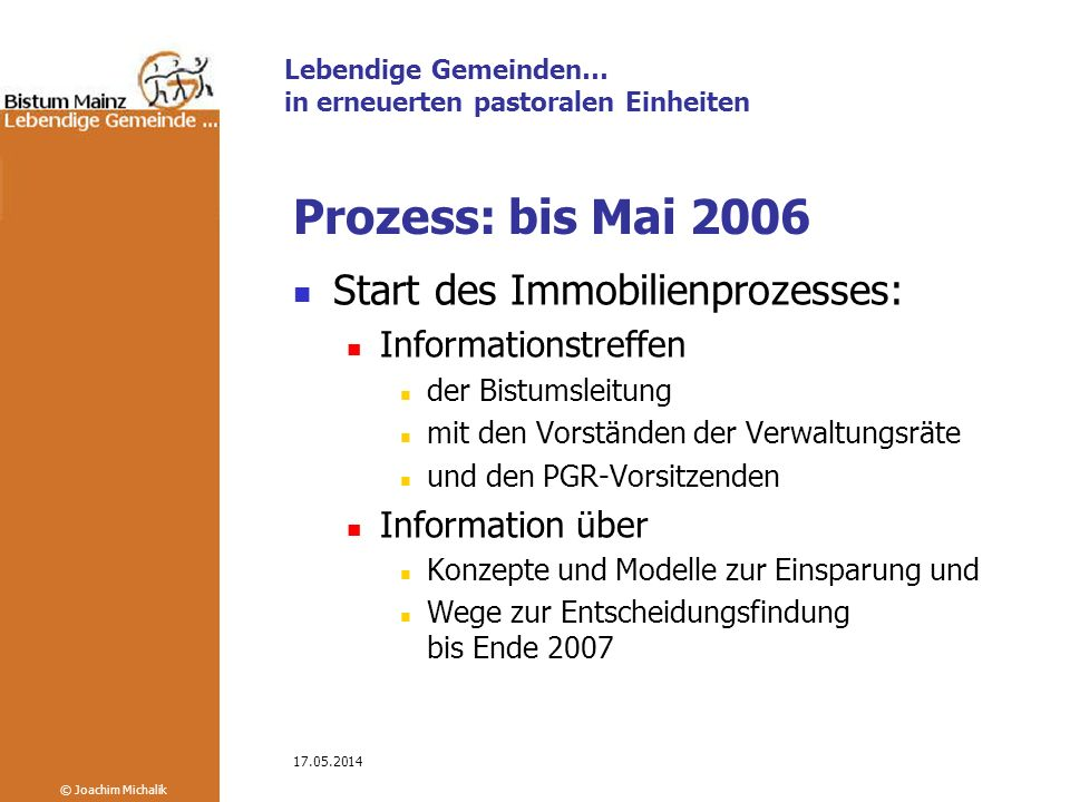 Prozess: bis Mai 2006 Start des Immobilienprozesses: