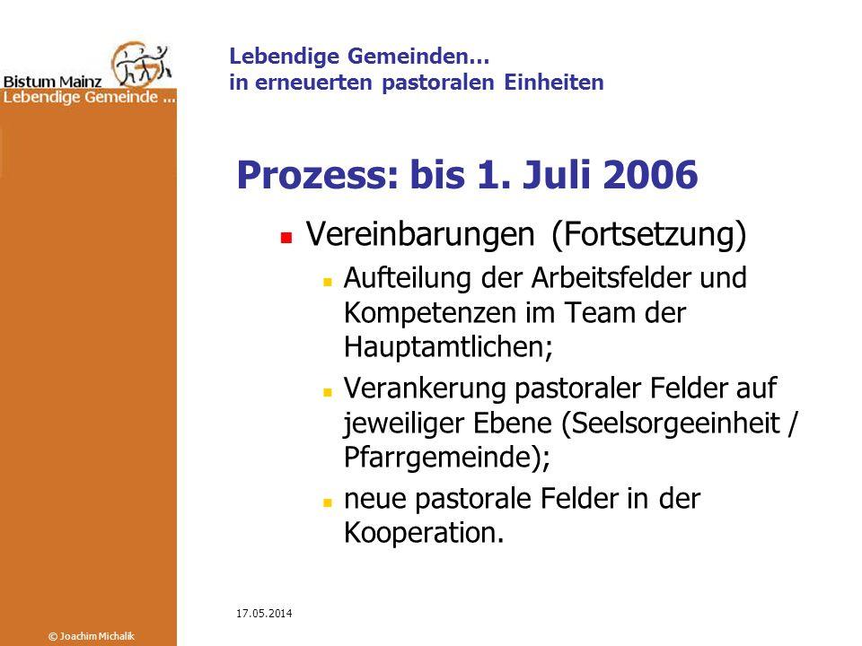 Prozess: bis 1. Juli 2006 Vereinbarungen (Fortsetzung)